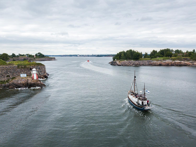 Boat in Kustaanmiekka strait in Helsinki