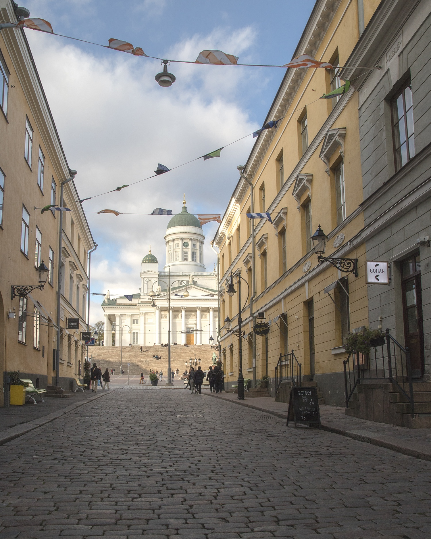 View to the Senate Square and the white church in Helsinki