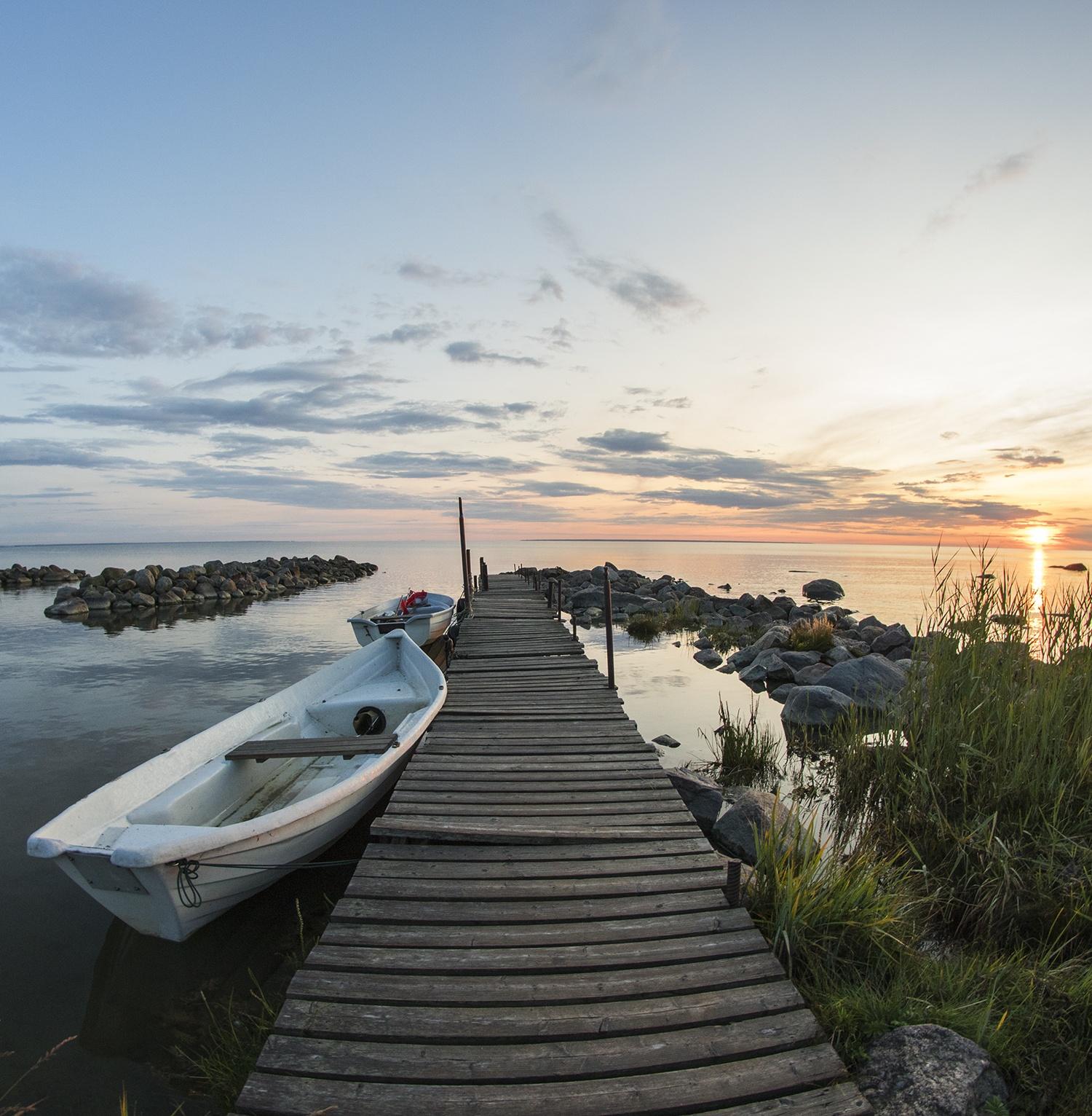 Boat, Baltic Sea and sunset in Viimsi, Estonia